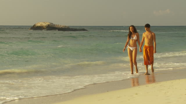 WS Couple holding hands walking on beach at sunset / Seychelles
