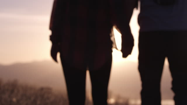 Couple holding hands walking out of focus towards sunset