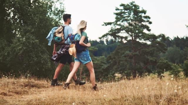 vídeos de stock, filmes e b-roll de mãos da terra arrendada dos pares ao andar no campo - casal jovem