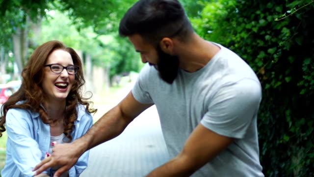 Couple in a romantic walk.