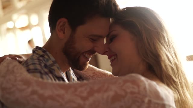 couple in affection moment at home - falling in love stock videos & royalty-free footage