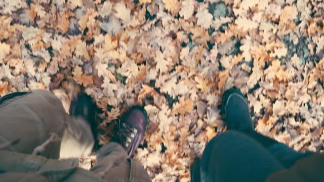 paar in stiefeln einen spaziergang im herbstlaub - gemeinsam gehen stock-videos und b-roll-filmmaterial
