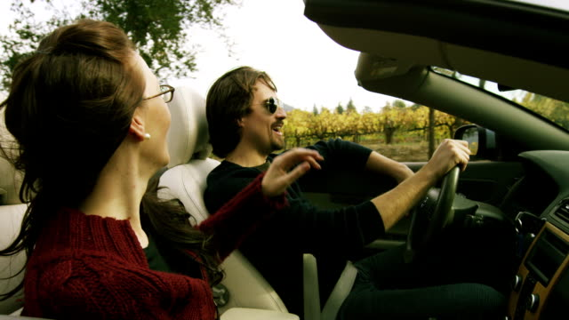 couple in convertible in wine country - honeymoon stock videos & royalty-free footage