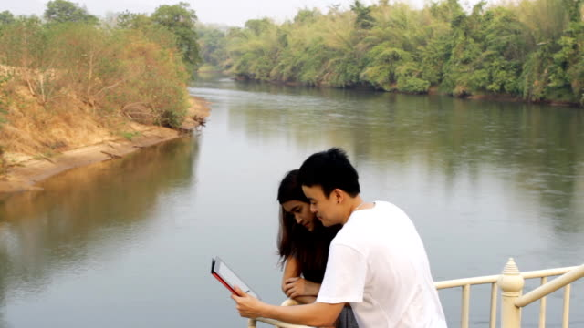 couple in holidays and tablet technology