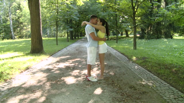 hd crane: couple in love - crane shot stock videos & royalty-free footage