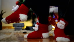 couple in love with Christmas socks
