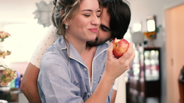 couple in pijamas for breakfast - apple fruit stock videos and b-roll footage