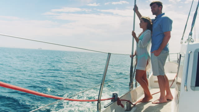 couple in sailing boat - sailing stock videos & royalty-free footage