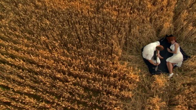 hd-kran: paar in wheat - liegen stock-videos und b-roll-filmmaterial