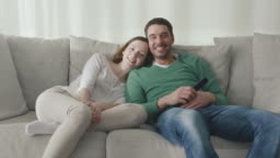 Couple is sitting on the couch at home and watching tv.
