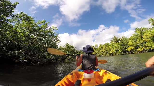 vídeos de stock, filmes e b-roll de a couple kayaking at raiatea island on the faaroa river, the only navigable river in french polynesia. - polinésia francesa
