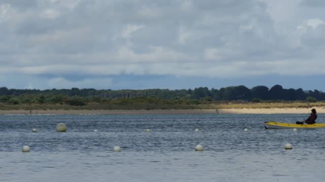 vídeos y material grabado en eventos de stock de couple kayaking from right to left with beach in background - studland heath