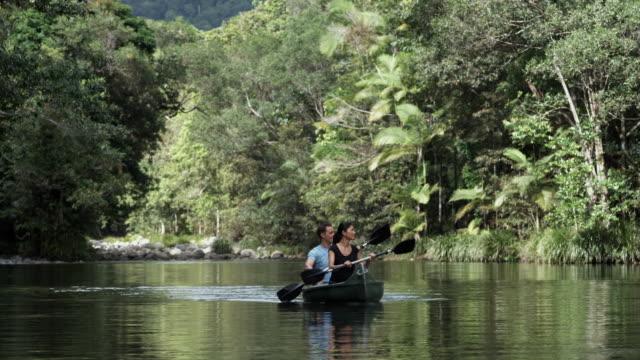 vídeos y material grabado en eventos de stock de ws, couple kayaking on river in rainforest, mossman, queensland, australia - idílico