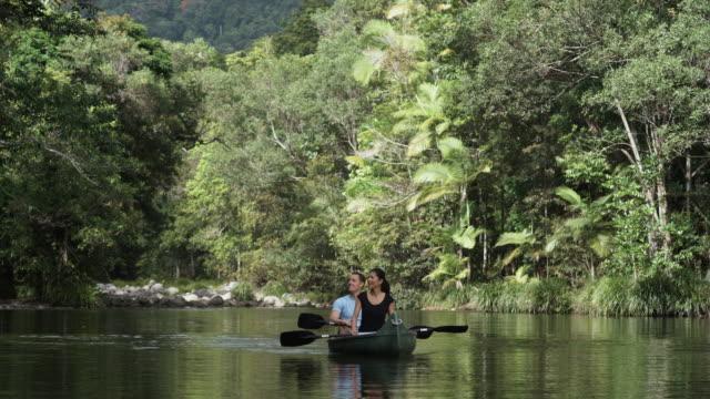 ws, cu, couple kayaking on river in rainforest, mossman, queensland, australia - fan palm tree stock videos & royalty-free footage
