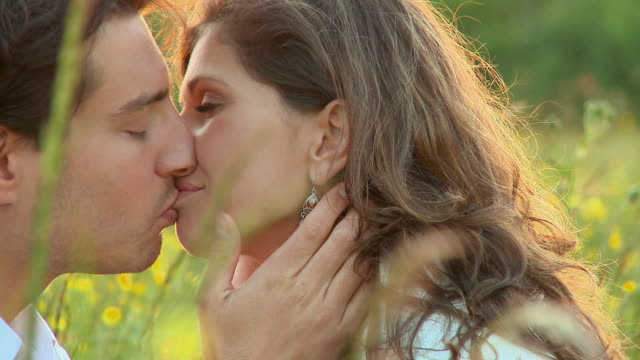 cu pan couple kissing in meadow at sunset / vrhnika, slovenia - vrhnika stock videos & royalty-free footage