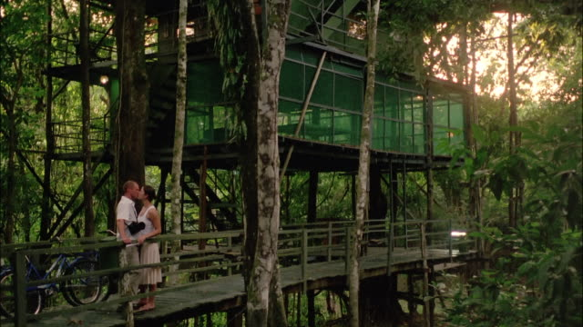 couple kissing on catwalk outside treetop ecolodge at ariau amazon towers in amazon rainforest / smiling at camera / brazil - elevated walkway stock videos & royalty-free footage