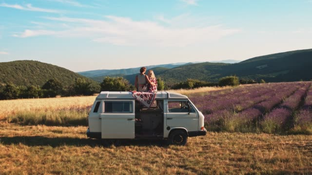 couple kissing on van against idyllic landscape - piacere video stock e b–roll