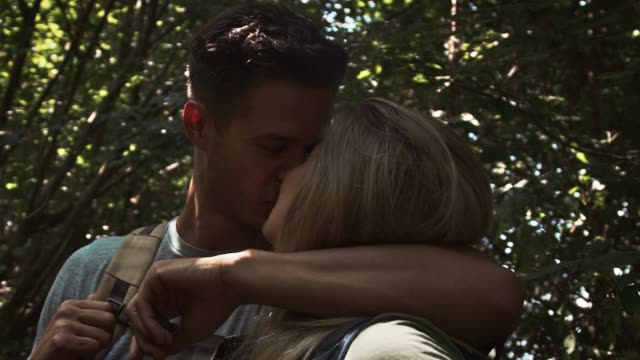 couple kissing while hiking in forest - woodland stock videos & royalty-free footage
