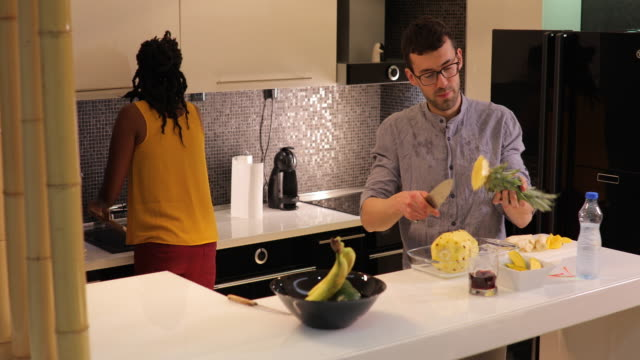 couple making healthy meal - fruit salad stock videos & royalty-free footage