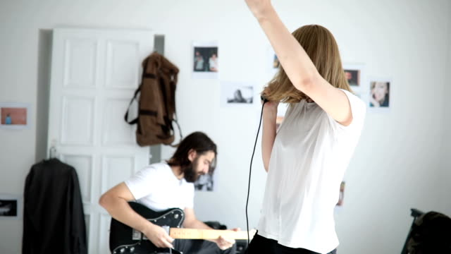 Couple making music