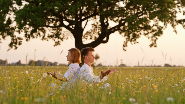 ds couple meditating in grass - mid adult couple stock videos & royalty-free footage