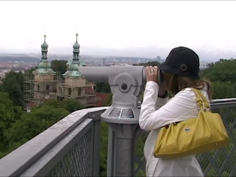 Couple observing Prag with telescope