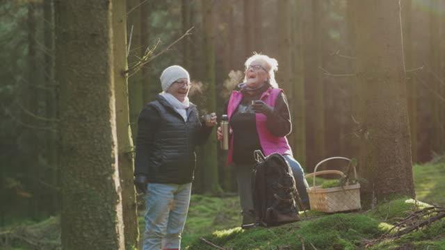ett par seniora kvinnor dricker kaffe på en vandring genom en skog - kaffe dryck bildbanksvideor och videomaterial från bakom kulisserna