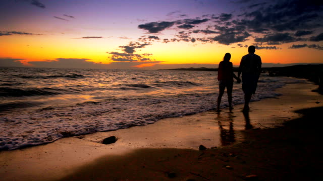 日没の散歩をカップルします。 - 輪郭点の映像素材/bロール