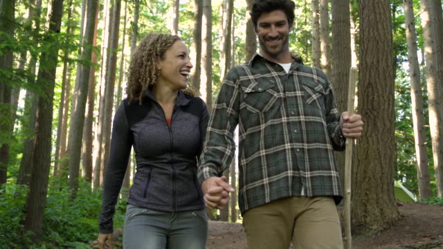 couple on forest hike