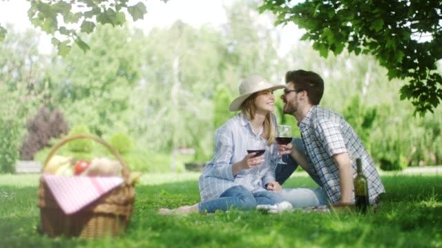 vidéos et rushes de couple sur un pique-nique romantique dans la nature, boire du vin rouge - panier pique nique