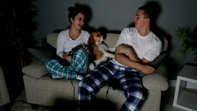 couple on sofa playing video games - gamepad stock videos & royalty-free footage