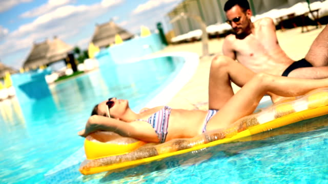 couple on vacation. - inflatable stock videos & royalty-free footage