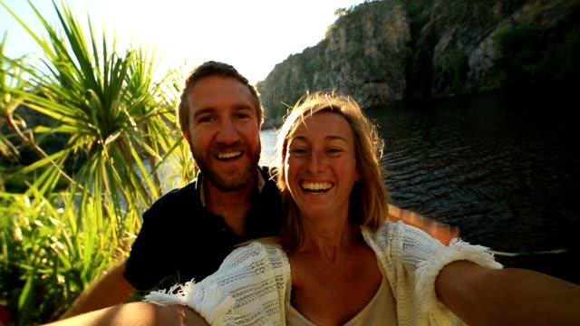 Couple on vacations take selfie portrait