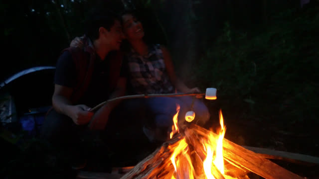 couple outdoors roasting marshmallows while looking happy and smiling - marshmallow video stock e b–roll