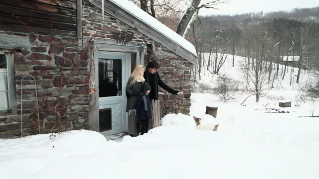 couple outside rustic house playing with dog - pet owner stock videos & royalty-free footage