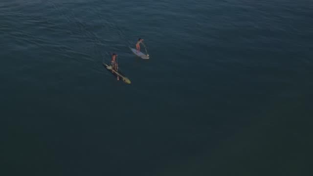 vídeos de stock, filmes e b-roll de casal paddle boarding enquanto o sol nasce - taiti