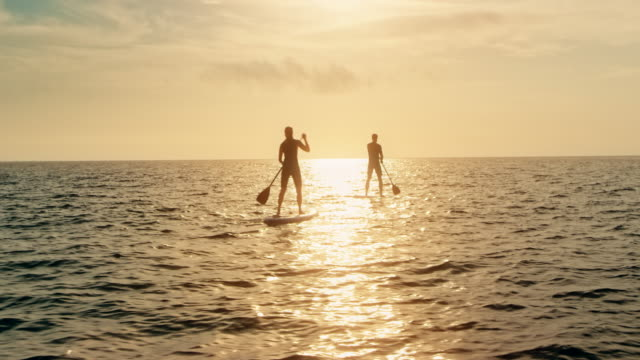 Couple paddling on their SUPs towards the sunset