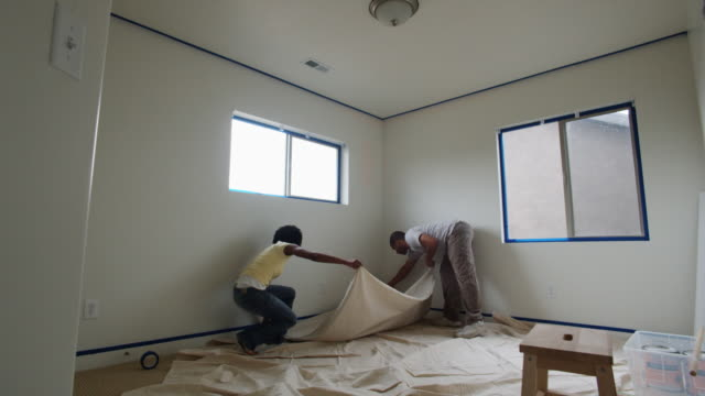 couple painting a room - see other clips from this shoot 1419 stock videos & royalty-free footage