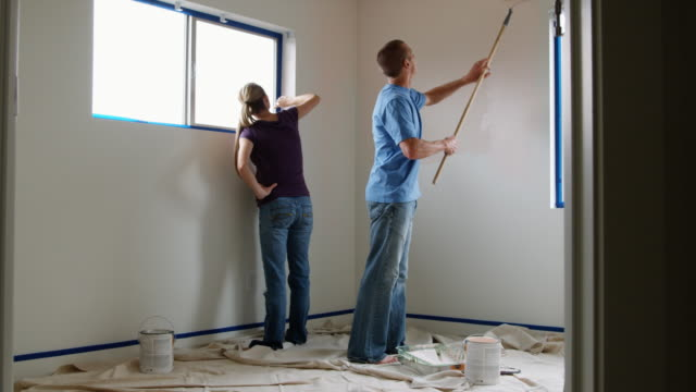 couple painting a room - see other clips from this shoot 1418 stock videos & royalty-free footage