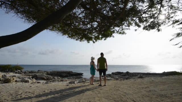 paus för par att blicka ut över lugna havet - cinemagrafi bildbanksvideor och videomaterial från bakom kulisserna
