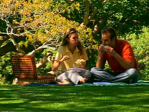 vídeos y material grabado en eventos de stock de couple picnicing - cesta de picnic