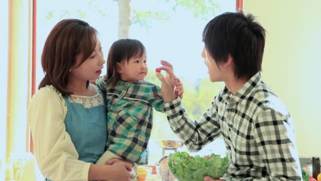 ms couple playing with their child / fuji kawaguchiko, yamanashi, japan - 選択点の映像素材/bロール