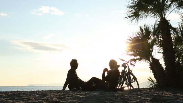 couple relax with bicycles on beach, take pictures out to sea - palm tree stock videos & royalty-free footage