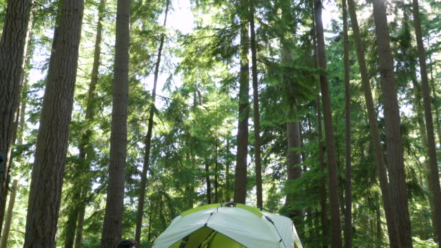 vídeos de stock, filmes e b-roll de couple relaxing at camp site - cadeira dobrável