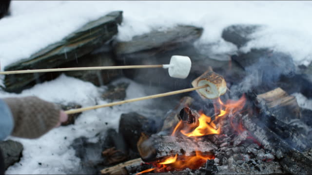 couple roasting marshmallows and sharing hot cocoa around a campfire - wintermantel stock-videos und b-roll-filmmaterial