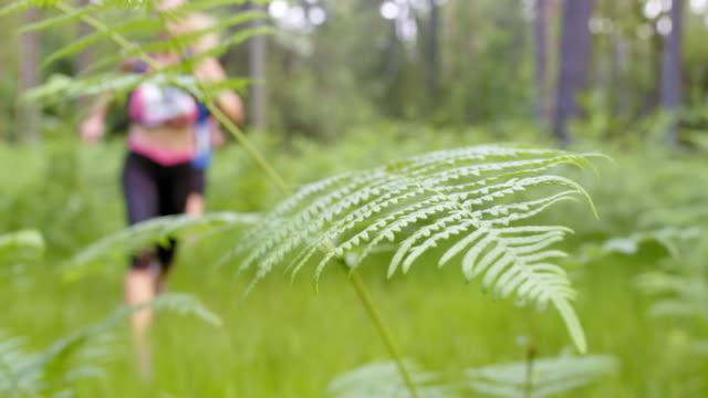 LD Couple running a marathon through a forest trail