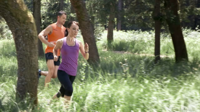 slo mo ds couple running in forest - vest stock videos & royalty-free footage