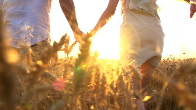 hd-super-slow-motion: paar läuft in wheat field - verlieben stock-videos und b-roll-filmmaterial
