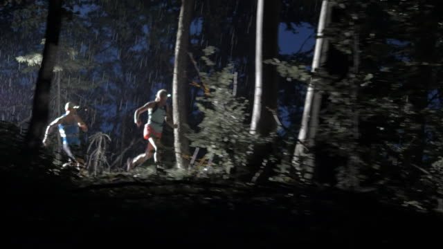 aerial couple running through the forest at night - dark stock videos & royalty-free footage