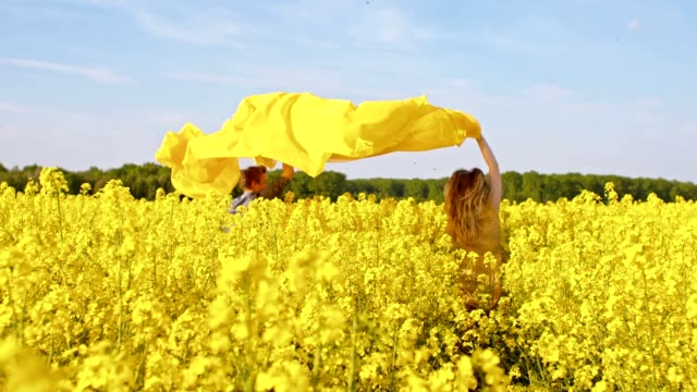 slo mo couple running with a shawl among canola - sheet stock videos & royalty-free footage